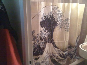 shower curtain with iconic japanese wave